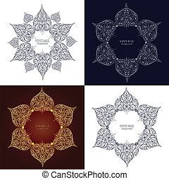 ornamental, jogo, renda, ornamento, quatro, círculo, redondo