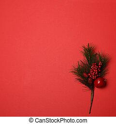 ornamental, jul, branck, på, rød baggrund, hos, uhyre, blank, område, by, din, tekst, eller, adder, -, minimale, lejlighed, lægge, jul, konstruktion