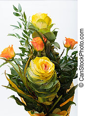 Ornamental kale with yellow, orange, and green leaves (...