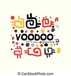 Ornamental kid s style drawing Voodoo magic logo. Abstract magical theme pattern. Religion and culture. Colorful hand drawn mystical vector illustration