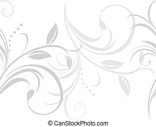 ornamental, lätt, gräns, grå