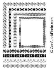 ornamental, líneas, Colección, regla