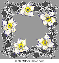 Ornamental lloral round frame with hand drawn flowers daffodils