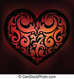ornamental, love., heart.