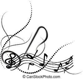 ornamental, música nota, con, remolinos, blanco, plano de fondo