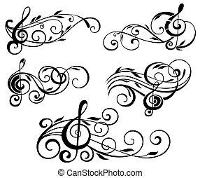 ornamental, música nota, con, remolinos