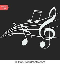 ornamental, música nota, con, remolinos, en, fondo negro