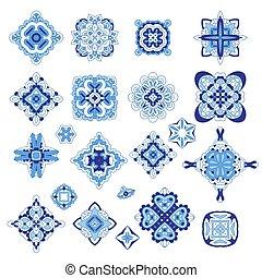 ornamental, mall, damast, set., symboler, vektor, medaljong, geometrisk, arabiska