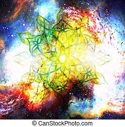 Ornamental mandala in cosmic space, Heart Chakra.