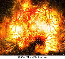 Ornamental mandala in cosmic space, Root Chakra.