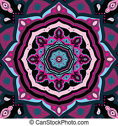 ornamental, mandala., indisk, pattern.