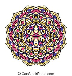 ornamental, mandala., pattern., redondo