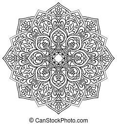 ornamental, mandala., vetorial