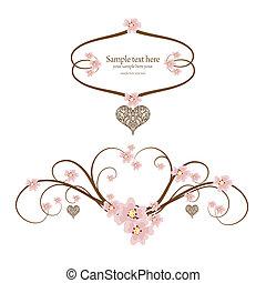 ornamental, marco, corazón, con, lugar, para, su, texto