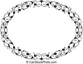 ornamental, marco, floral, negro, oval, oriental