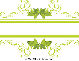 ornamental, marco, hojas verdes