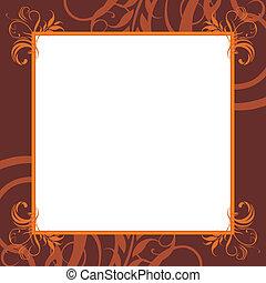 ornamental, marco, marrón