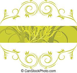 ornamental, marco, verde