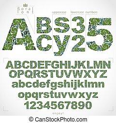 ornamental, mecanografiado, cartas, 9, alfabeto, pattern., números, 0, hand-drawn, vector, vendimia, floral, adornado, fuente, botánico, numeration, design.