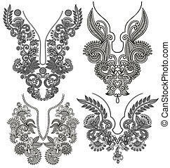 ornamental, moda, decote, cobrança, bordado, floral