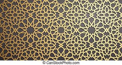 ornamental, motiff, oro, patrón, símbolo, ornamento, ramadan, islámico, vector, persa, plano de fondo, árabe, 3d, elementos, geométrico, circular redonda