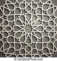 ornamental, motiff, patrón, símbolo, ornamento, ramadan, islámico, vector, persa, árabe, 3d, elementos, geométrico, circular redonda