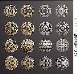 ornamental, motiff, patrón, set., ornamento, ramadan, símbolos, islámico, vector, persa, plantilla, logotipo, árabe, 3d, elementos, geométrico, circular redonda