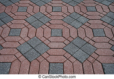 ornamental, mursten, patterned, patio