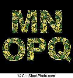 ornamental, n, isolated., m, q, este prego, padrão, herbário, letras, decorado, typescript