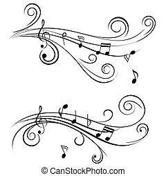 ornamental, notas, música