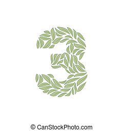 Ornamental number 3 on white