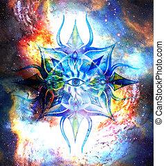 ornamental, ojo, tercero, cósmico, espacio, chakra., mandala