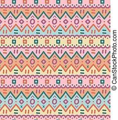 ornamental, ornamental, pattern., seamless, tekstilet, klar, etniske, stribet, indfødt