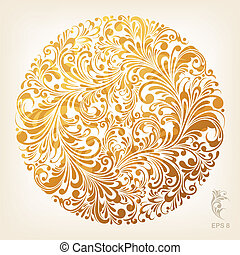 ornamental, oro, dibujo de círculo