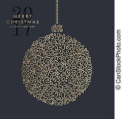 ornamental, ouro, bauble, ano, novo, natal