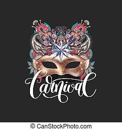 ornamental, ouro, máscara carnaval, veneziano, floral, pena,...