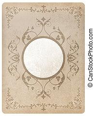 Ornamental oval frame on aged vintage background, grunge ...