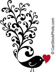 ornamental, pájaro, con, corazón rojo