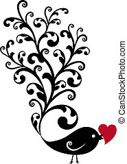 ornamental, pájaro, corazón rojo