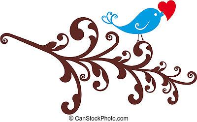 ornamental, pássaro, com, coração vermelho