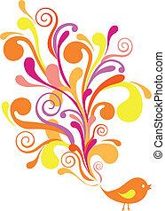 ornamental, pássaro, vetorial