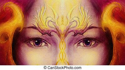 ornamental, pássaros, olho mulher, phoenix, ouro, tatuagem, roxo, místico, dois, rosto, experiência., contact.