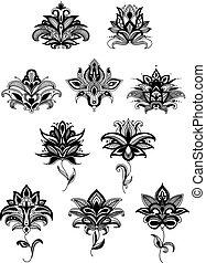 ornamental, paisley, persa, flores, flores