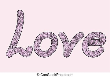 ornamental, palabra, amor, zen, mano, dibujado, ...