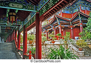 ornamental passages in the palace in lijiang, china,...