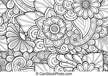 ornamental, patrón, resumen, seamless, estilizado, flowers., negro, blanco