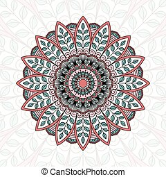 ornamental, pattern., redondo, encaje