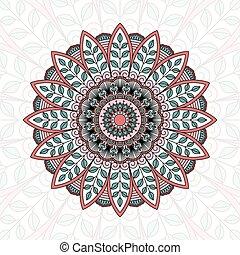 ornamental, pattern., redondo, renda