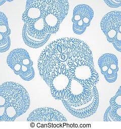 Ornamental pattern skull seamless texture