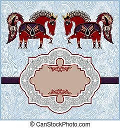 ornamental pattern with horses with place for your greetings, invitations, announcements in ornate background, year of horse theme